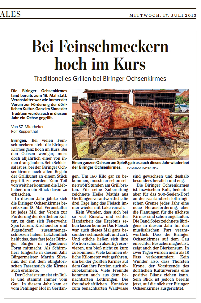 SZ-Artikel Biringer Ochsenkirmes 2013